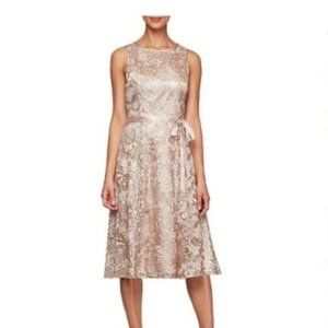 Alex Evenings Rose Gold Embroidered Dress 16P NWT